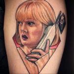 Призрачное лицо – фото тату 13.01.2021 №0014 -Norman Bates tattoo- tatufoto.com