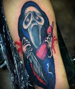 Призрачное лицо – фото тату 13.01.2021 №0030 -Norman Bates tattoo- tatufoto.com
