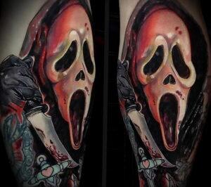 Призрачное лицо – фото тату 13.01.2021 №0052 -Norman Bates tattoo- tatufoto.com