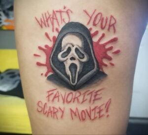 Призрачное лицо – фото тату 13.01.2021 №0069 -Norman Bates tattoo- tatufoto.com
