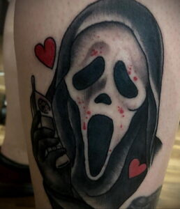 Призрачное лицо – фото тату 13.01.2021 №0073 -Norman Bates tattoo- tatufoto.com