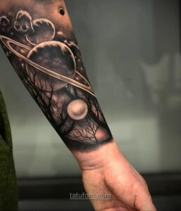 Тату астрономия и космос 11.01.2021 №0215 -astronomy and space tattoo- tatufoto.com