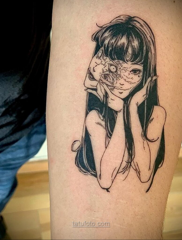 Тату ужас Дзюндзи Ито 12.01.2021 №0005 -horror tattoo Junji Ito- tatufoto.com