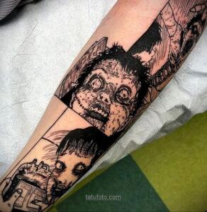 Тату ужас Дзюндзи Ито 12.01.2021 №0028 -horror tattoo Junji Ito- tatufoto.com
