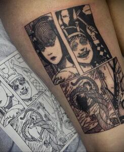 Тату ужас Дзюндзи Ито 12.01.2021 №0031 -horror tattoo Junji Ito- tatufoto.com