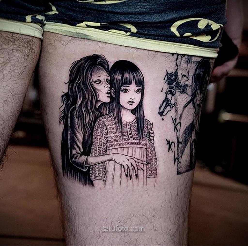 Тату ужас Дзюндзи Ито 12.01.2021 №0054 -horror tattoo Junji Ito- tatufoto.com
