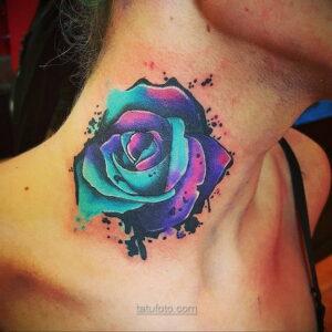 Фото женского цветного рисунка тату 09.01.2021 №1018 -color female tattoo- tatufoto.com