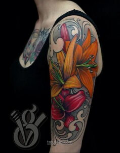 Фото женского цветного рисунка тату 09.01.2021 №1026 -color female tattoo- tatufoto.com