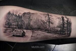 Фото рисунка тату лес 10.01.2021 №10006 -forest tattoo- tatufoto.com
