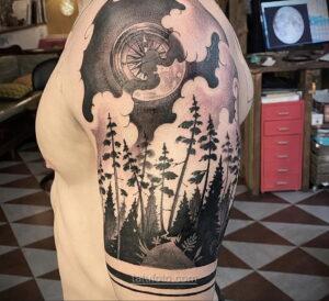 Фото рисунка тату лес 10.01.2021 №10031 -forest tattoo- tatufoto.com