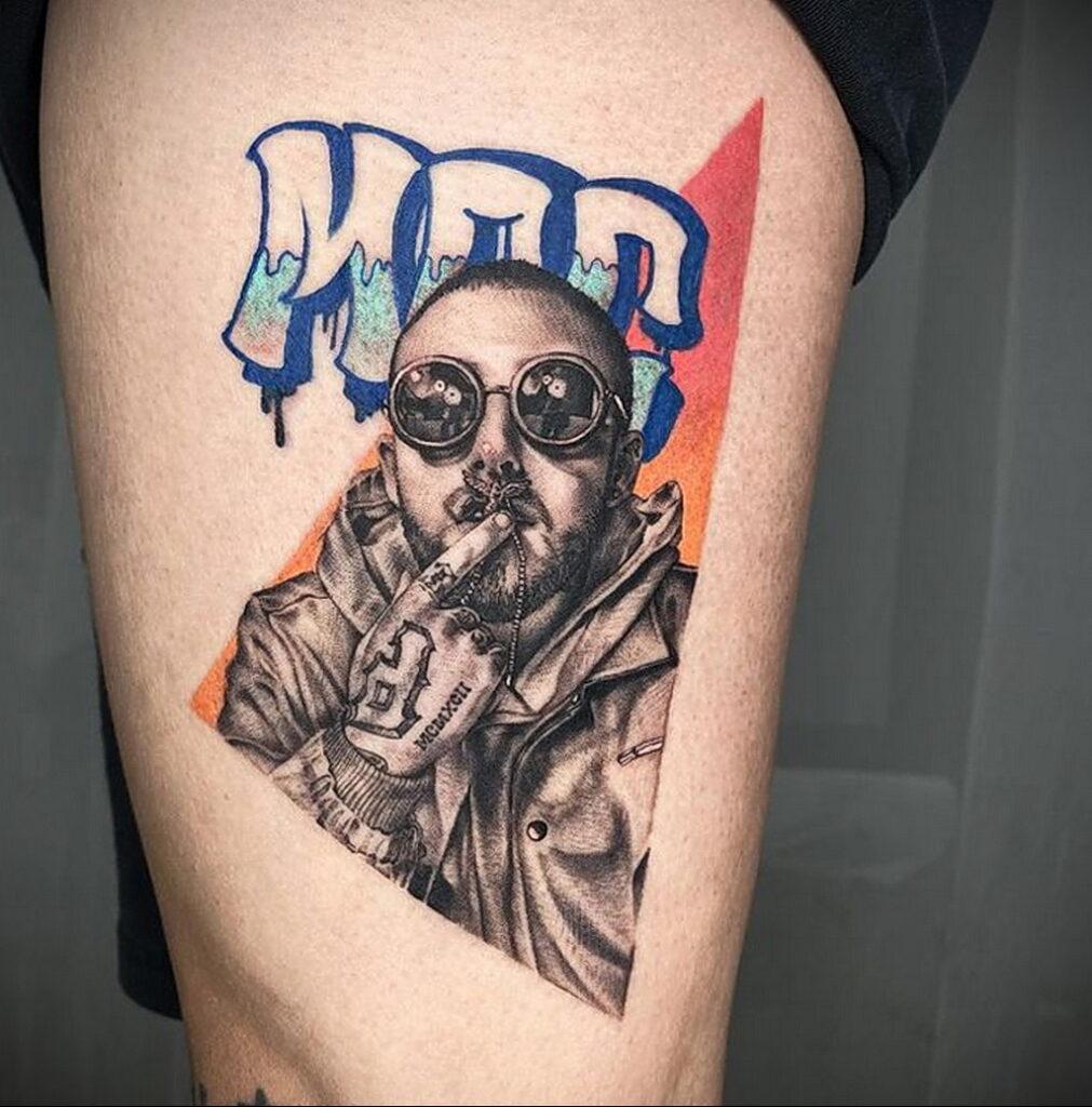 Фото тату портрет Мак Миллера 20.01.2021 №0046 - Mac Miller tattoo - tatufoto.com