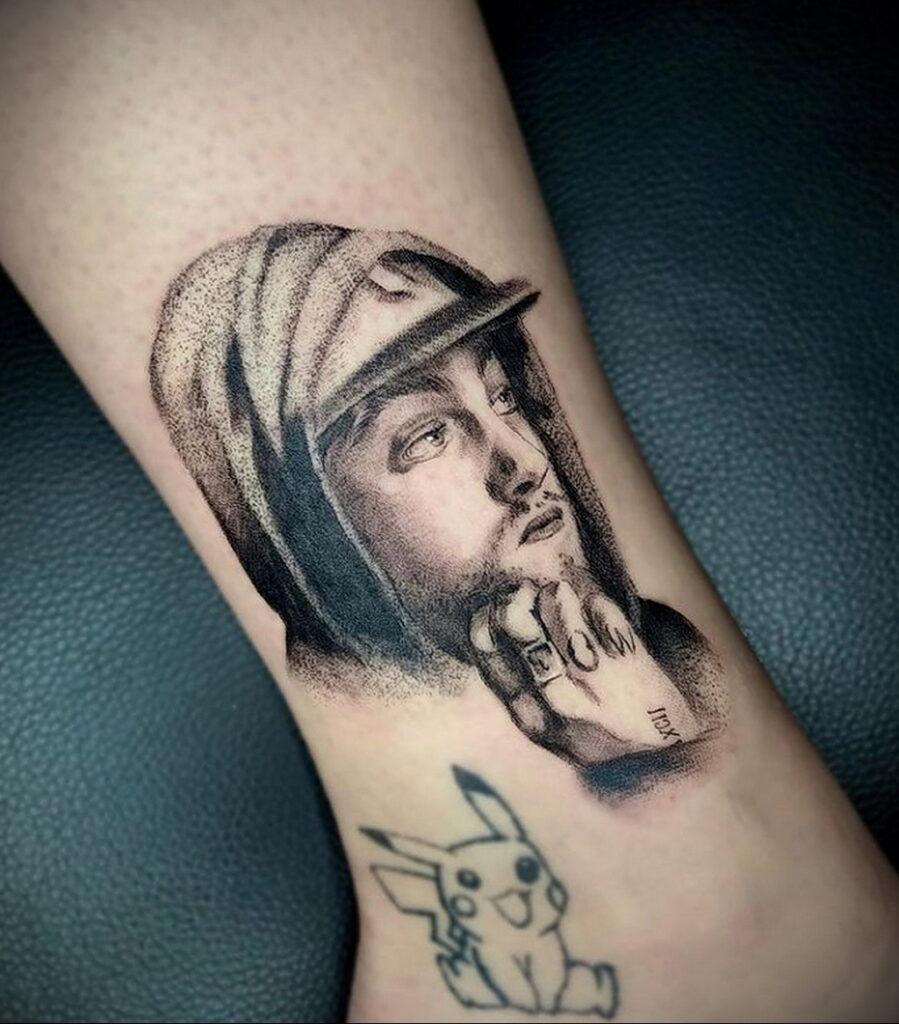 Фото тату портрет Мак Миллера 20.01.2021 №0051 - Mac Miller tattoo - tatufoto.com