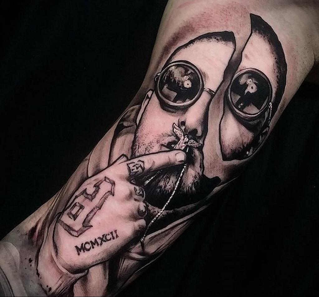 Фото тату портрет Мак Миллера 20.01.2021 №0054 - Mac Miller tattoo - tatufoto.com