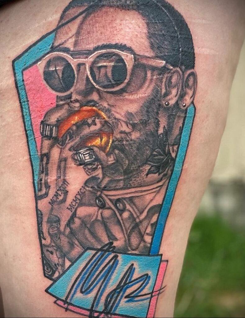Фото тату портрет Мак Миллера 20.01.2021 №0057 - Mac Miller tattoo - tatufoto.com
