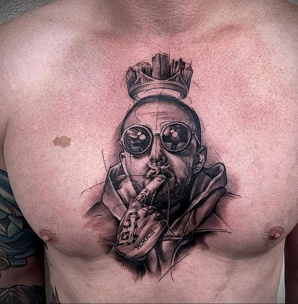 Фото тату портрет Мак Миллера 20.01.2021 №0058 - Mac Miller tattoo - tatufoto.com