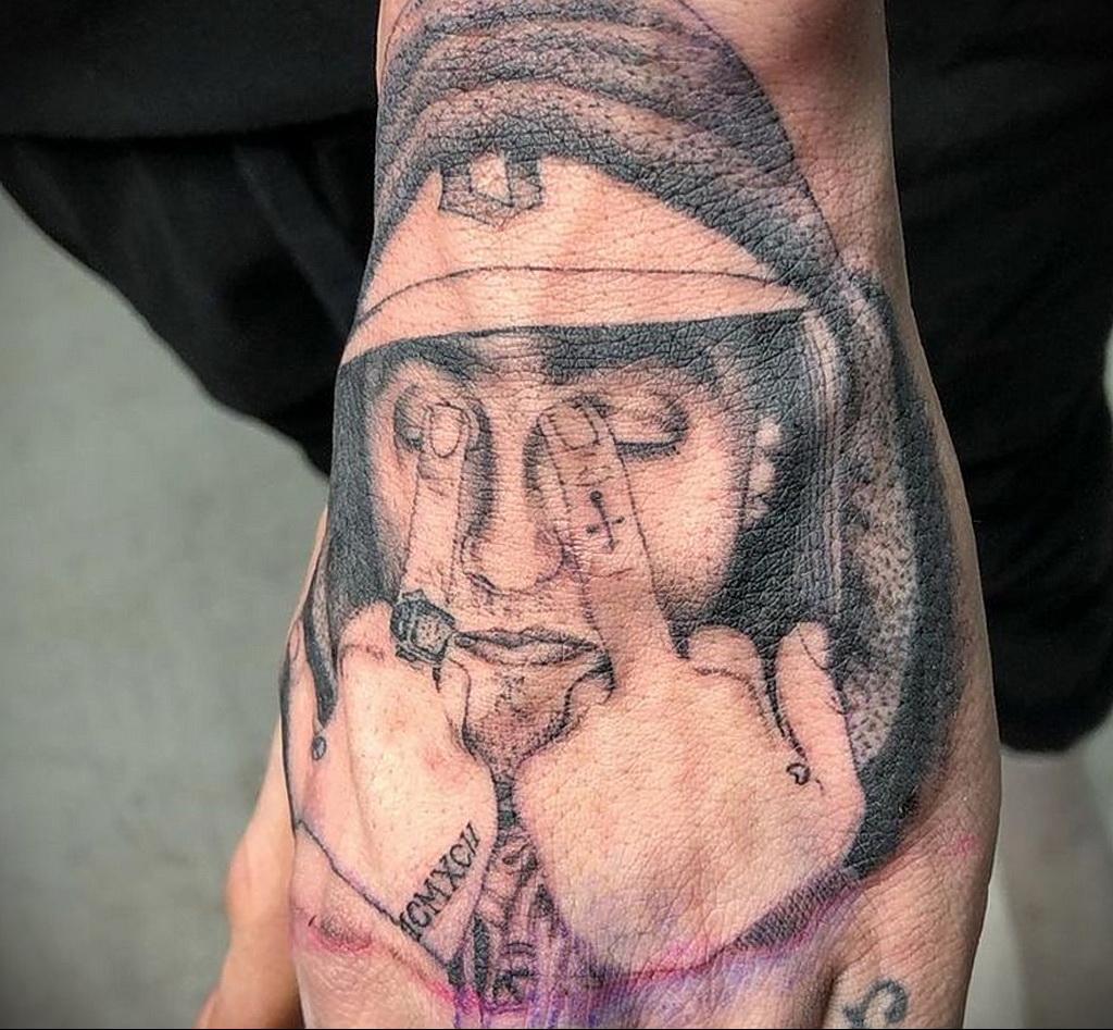 Фото тату портрет Мак Миллера 20.01.2021 №0062 - Mac Miller tattoo - tatufoto.com