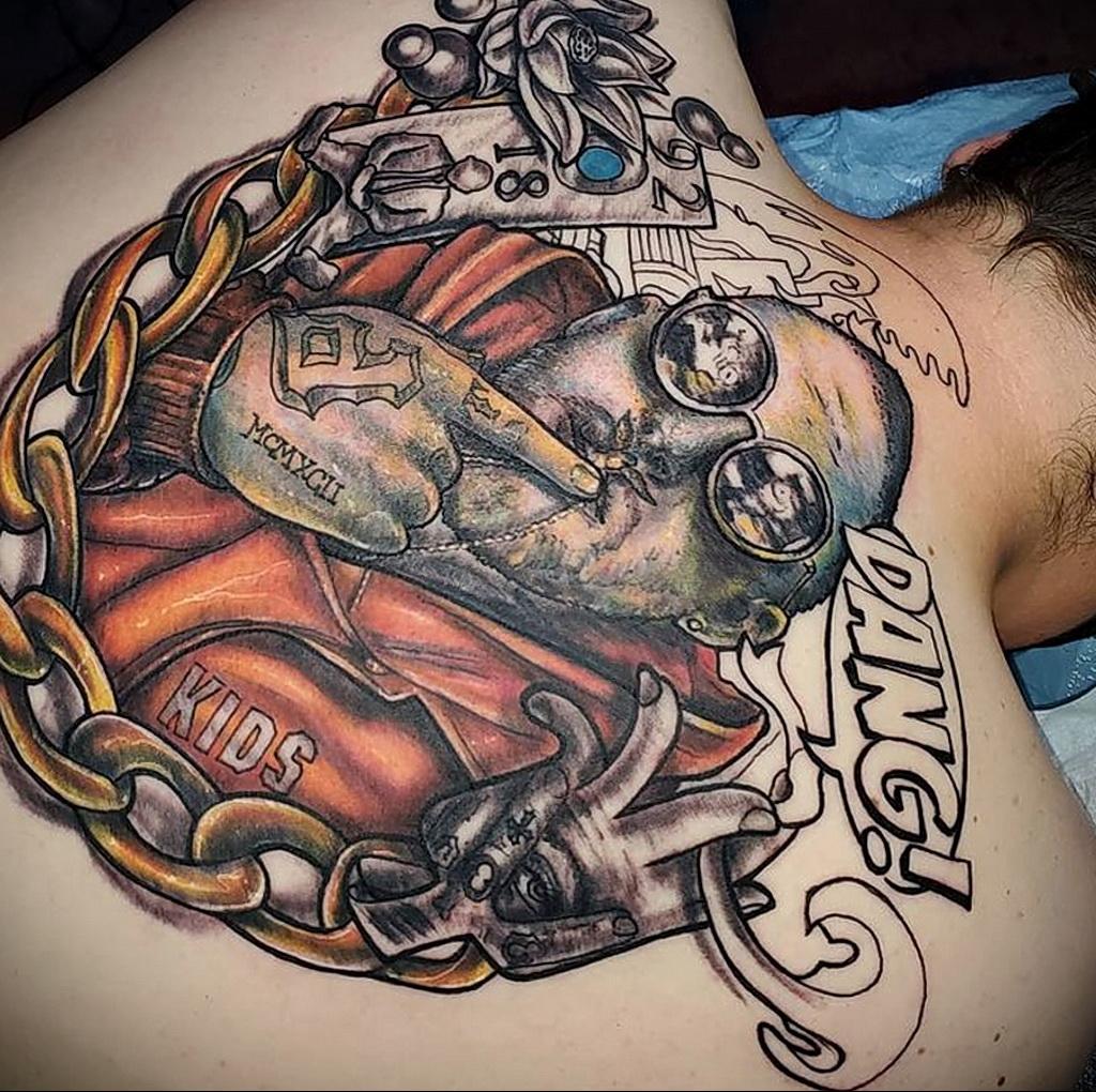 Фото тату портрет Мак Миллера 20.01.2021 №0065 - Mac Miller tattoo - tatufoto.com