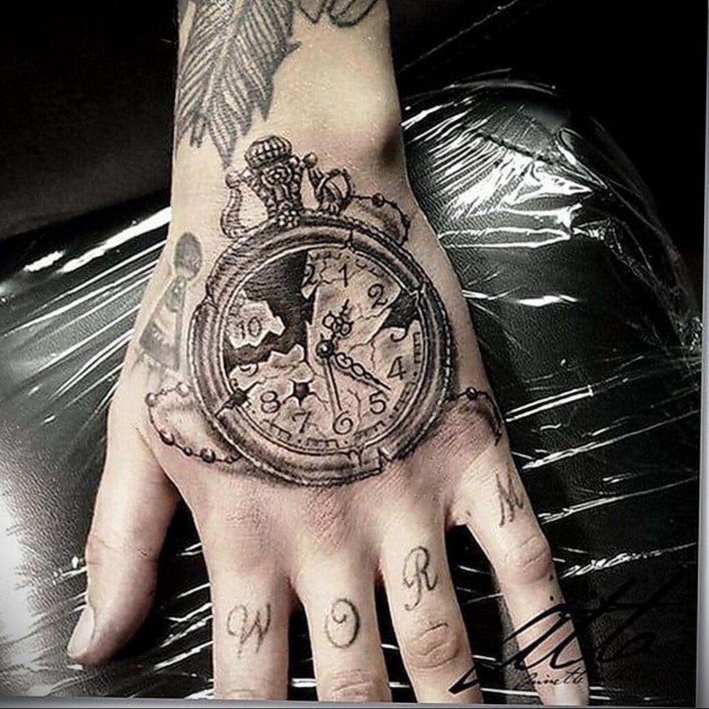 Фото тату разбитые часы 17.01.2021 №0003 -broken clock tattoo-tatufoto.com