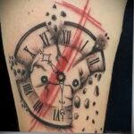 Фото тату разбитые часы 17.01.2021 №0014 -broken clock tattoo-tatufoto.com