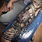 Фото тату рукав с часами 17.01.2021 №0001 -clock sleeve tattoo-tatufoto.com