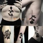 Фото тату с черной розой 25.01.2021 №0072 - black rose tattoo - tatufoto.com