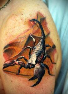 Фото тату цветной скорпион 16.01.2021 №0001 -color tattoo scorpion- tatufoto.com