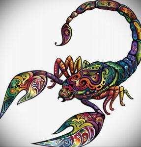 Фото тату цветной скорпион 16.01.2021 №0007 -color tattoo scorpion- tatufoto.com