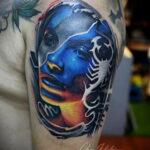 Фото тату цветной скорпион 16.01.2021 №0019 -color tattoo scorpion- tatufoto.com