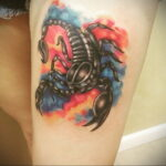 Фото тату цветной скорпион 16.01.2021 №0024 -color tattoo scorpion- tatufoto.com