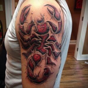 Фото тату цветной скорпион 16.01.2021 №0030 -color tattoo scorpion- tatufoto.com