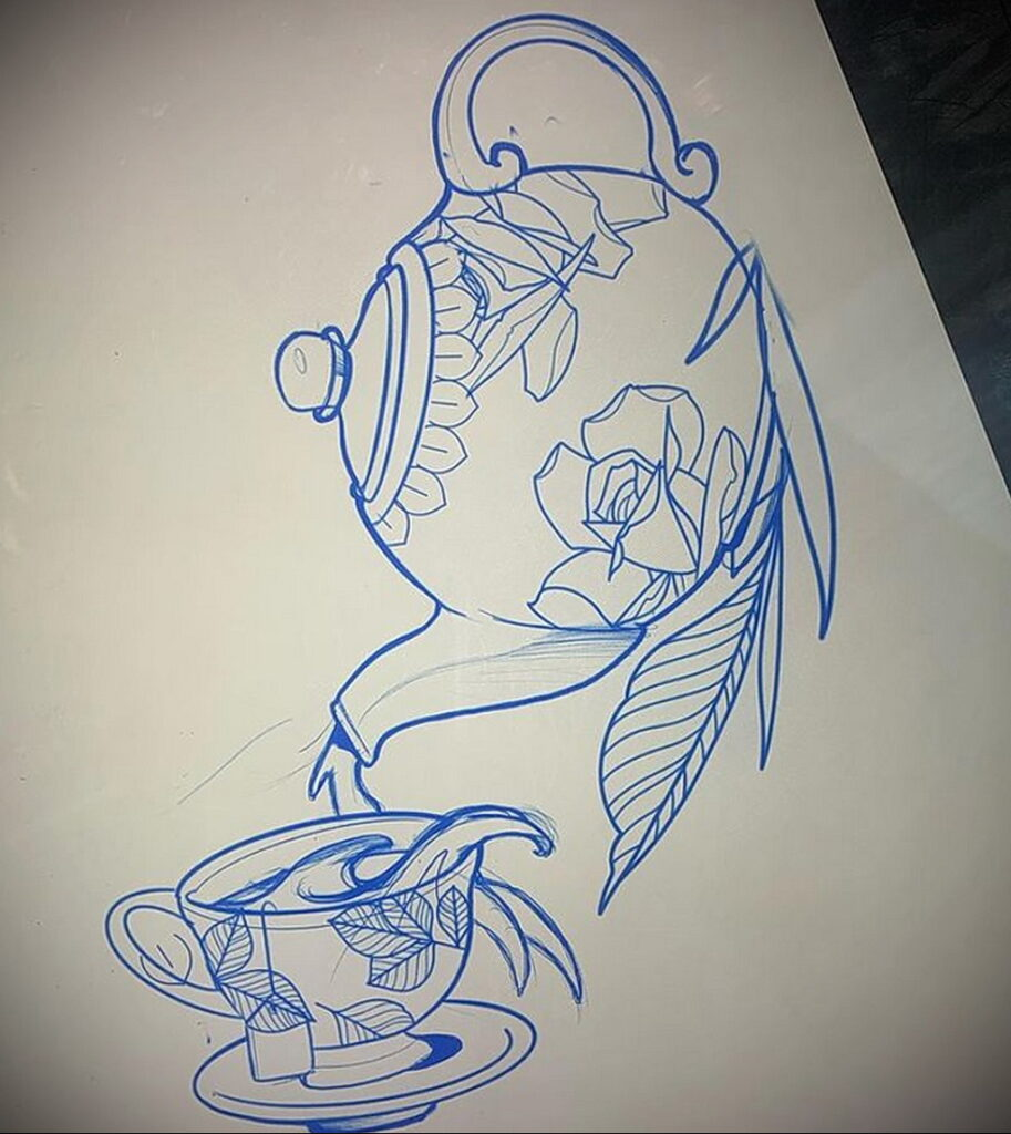 Фото тату чайник 06.01.2021 №411 -tattoo teapot- tatufoto.com