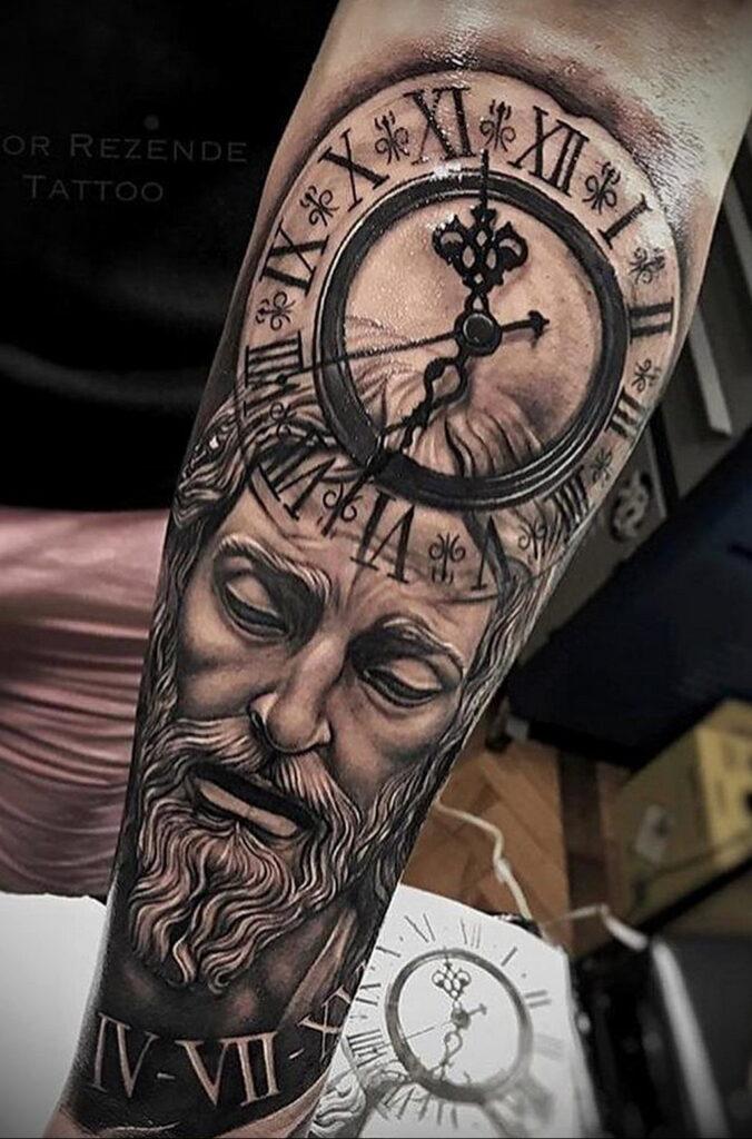 Фото тату часы для мужчины 19.01.2021 №0011 -tattoo clock for men-tatufoto.com
