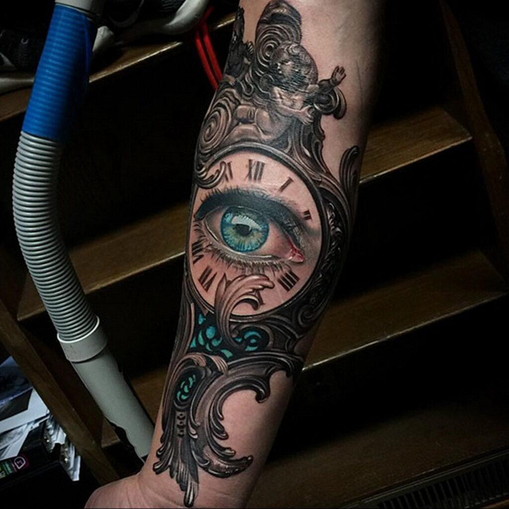 Фото тату часы для мужчины 19.01.2021 №0026 -tattoo clock for men-tatufoto.com