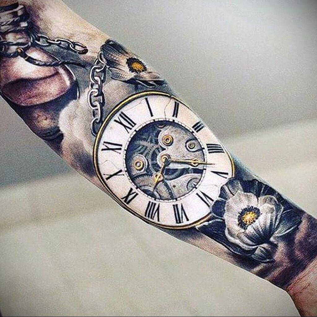 Фото тату часы для мужчины 19.01.2021 №0029 -tattoo clock for men-tatufoto.com