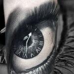 Фото тату часы и глаз 19.01.2021 №0048 -eye tattoo clock-tatufoto.com