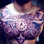 Фото тату часы на груди 17.01.2021 №0002 -clock tattoo on chest-tatufoto.com