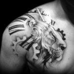 Фото тату часы на груди 17.01.2021 №0004 -clock tattoo on chest-tatufoto.com