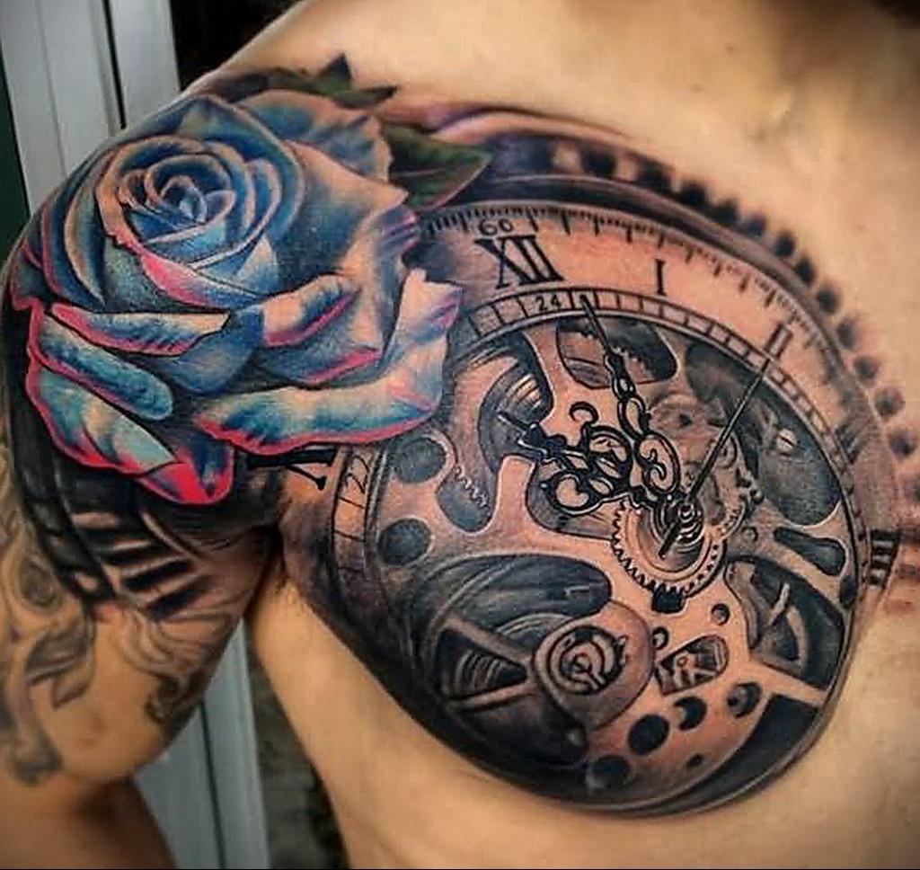 Фото тату часы на груди 17.01.2021 №0033 -clock tattoo on chest-tatufoto.com