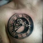 Фото тату часы на груди 17.01.2021 №0059 -clock tattoo on chest-tatufoto.com