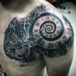 Фото тату часы на плече 19.01.2021 №0007 -clock tattoo on shoulder-tatufoto.com