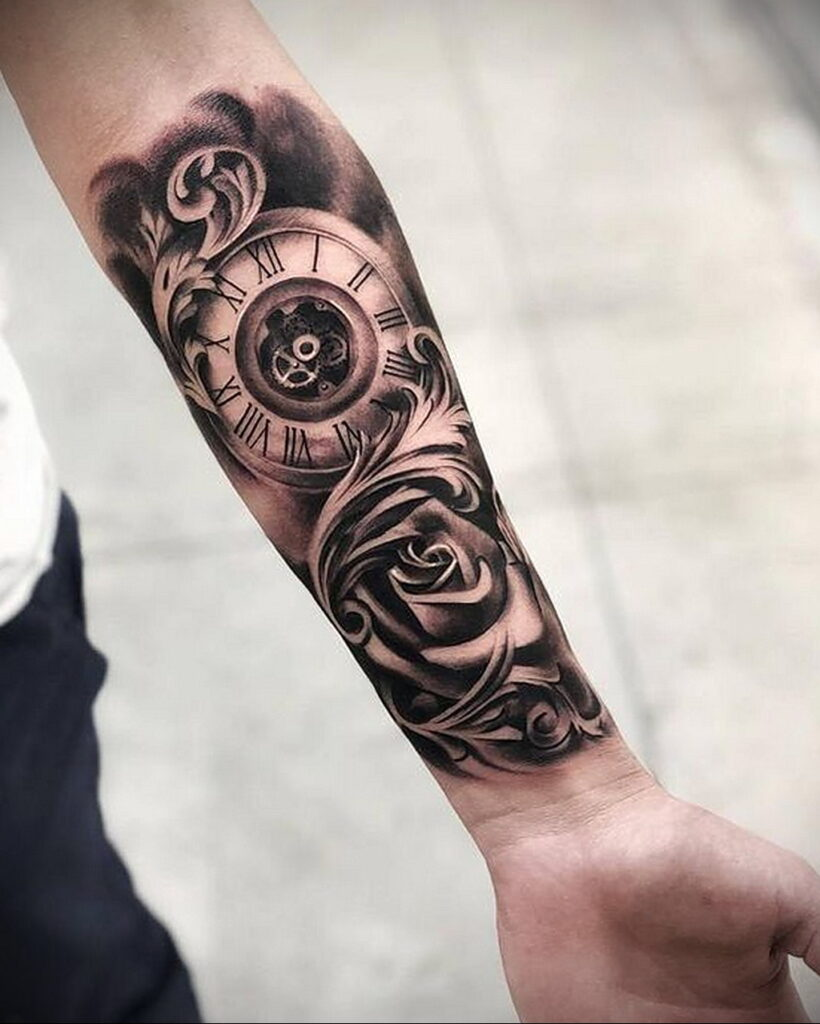 Фото тату часы на предплечье 19.01.2021 №0020 -forearm clock tattoo-tatufoto.com