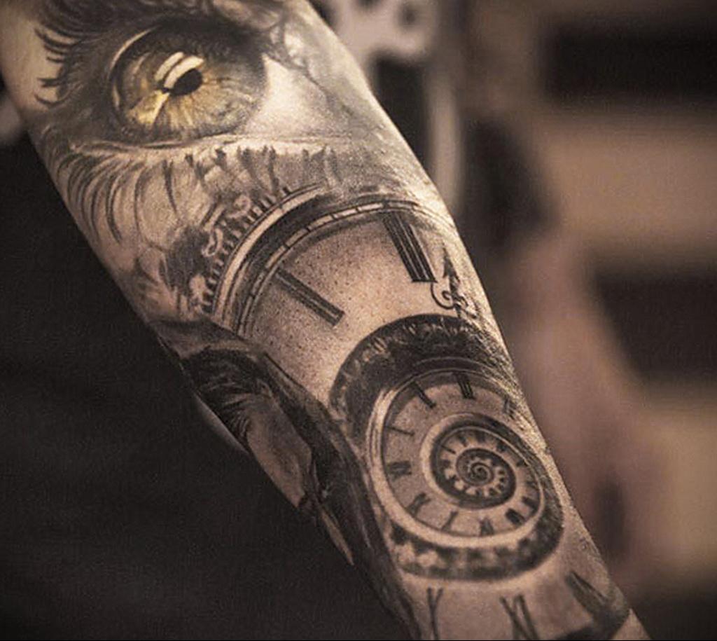 Фото тату часы на предплечье 19.01.2021 №0054 -forearm clock tattoo-tatufoto.com