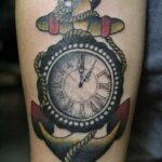 Фото тату часы на предплечье 19.01.2021 №0068 -forearm clock tattoo-tatufoto.com