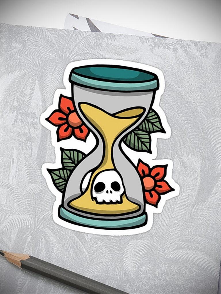 Фото тату часы песочные 19.01.2021 №0183 -hourglass tattoo-tatufoto.com