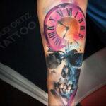 Фото тату часы цветная 19.01.2021 №0003 -tattoo clock color-tatufoto.com