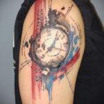 Фото тату часы цветная 19.01.2021 №0004 -tattoo clock color-tatufoto.com