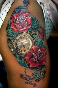Фото тату часы цветная 19.01.2021 №0005 -tattoo clock color-tatufoto.com