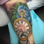Фото тату часы цветная 19.01.2021 №0026 -tattoo clock color-tatufoto.com