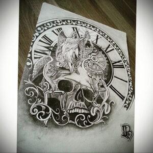 Фото эскиза для тату часы 19.01.2021 №0074 - tattoo clock sketches - tatufoto.com