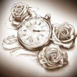Фото эскиза для тату часы 19.01.2021 №0088 - tattoo clock sketches - tatufoto.com